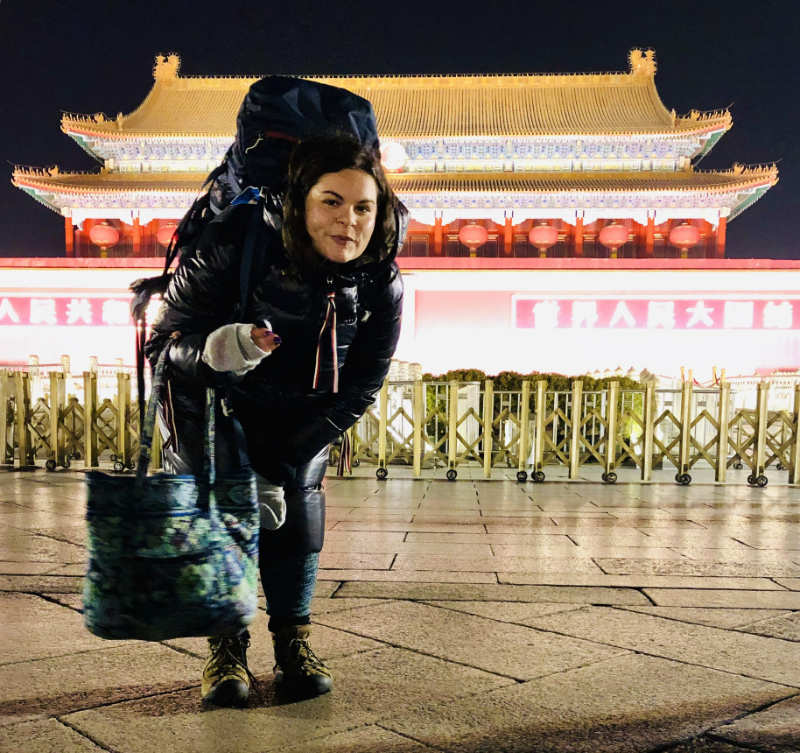 Rebkah Kleiner in front of the forbidden city